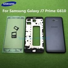 Pour Samsung Galaxy J7 Prime On7 2016 G610 G610F cadre avant moyen boîtier complet support de lunette cadre couverture arrière porte arrière