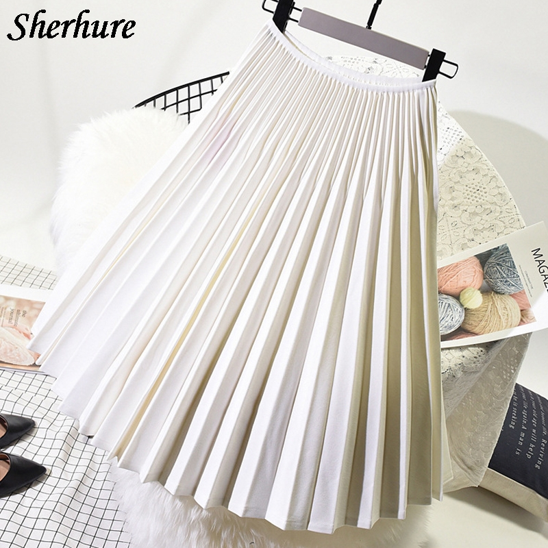 2018 New Spring Women Skirts Vintage High Waist Pleated Skirts Casual Loose Solid Stretch Skirts Women Saias Midi Faldas Onesize