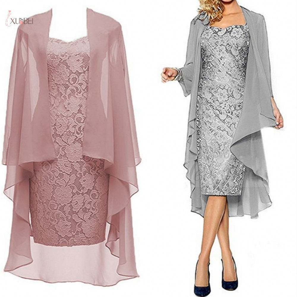 Lace Mother Of The Bride Dresses Suit Jacket 2019 Scoop Neck Long Sleeve Wedding Party Guest Gown Vestido De Madrinha