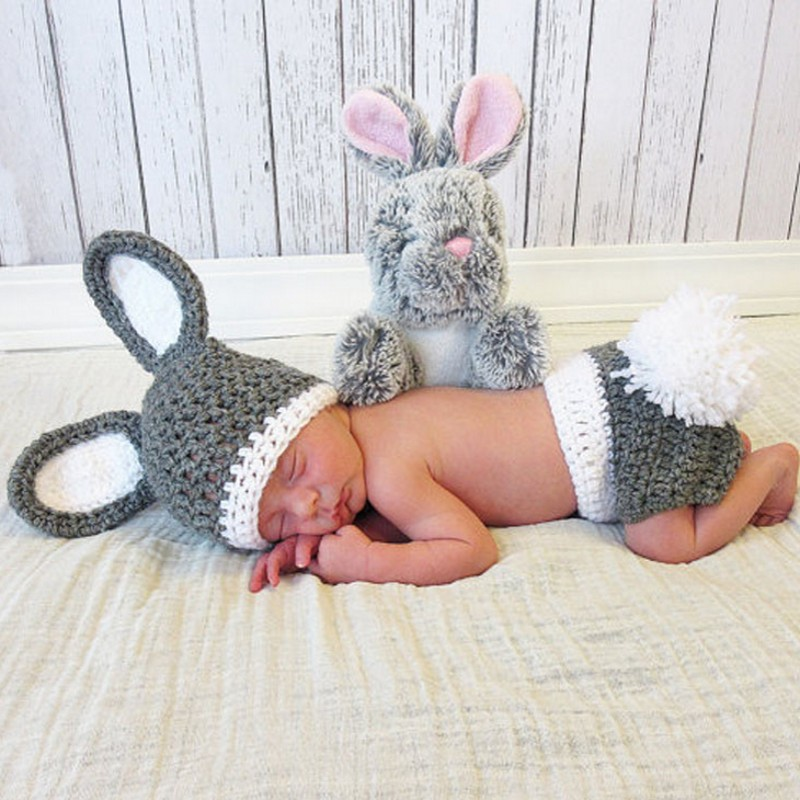 Crochet baby prop baby shower gift newborn gift newborn prop Original Newborn Photography Prop rabbit Navy hat Watch hat baby photo props hot animals infant rabbit cotton crochet costume baby shower birthday party photography prop