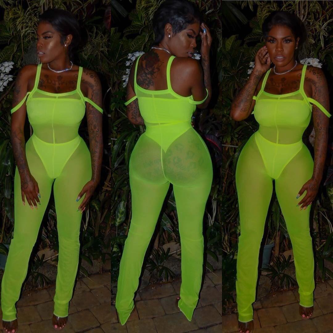 Women Off Shoulder Spaghetti Strap Sexy   Jumpsuit   2019 Summer Party Clubwear Mesh Transparent Bodycon   Jumpsuit