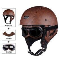 Halbe Gesicht Vintage Motorrad Helm Retro Deutsch Kask,Cafe Racer, Roller, Cruiser,Chopper, matte schwarz, EPS futter, DOT genehmigt