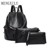SAICHENG Brand 3 Set Women Backpacks Female School Bags For Teenage Girls Black PU Leather Backpack