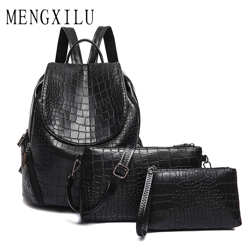 3 Set Women Backpacks Female School Bags For Teenage Girls Black PU Leather Backpack Women Shoulder Bag Women Aligator Purse joypessie composite women backpack pu leather backpack for teenage girls female school backpack with shoulder purse