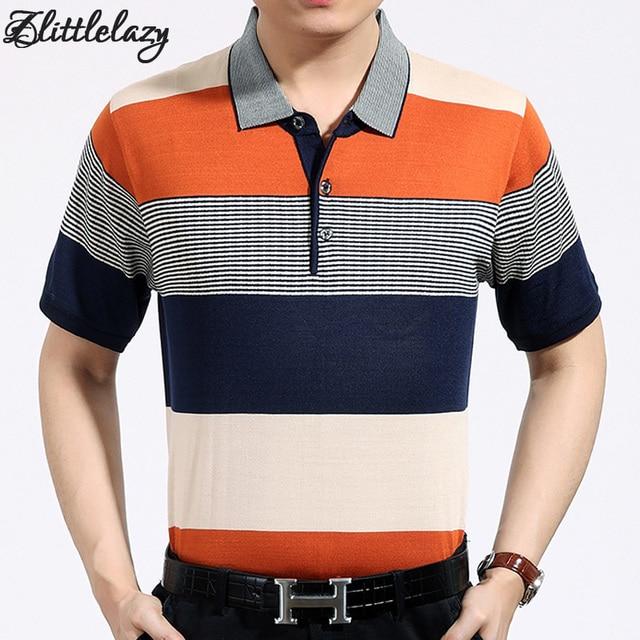 72ee1072b1524 Boşluk 2018 rahat kısa kollu iş erkek gömlek çizgili moda marka POLO ...