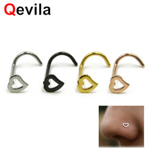 Qevila Hot Sale Nose Ring Stainless Steel Heart Shape Piercing Fake Clip on Nose for Wom n Rings Body Clip Hoop Nose Septum Ring(China)