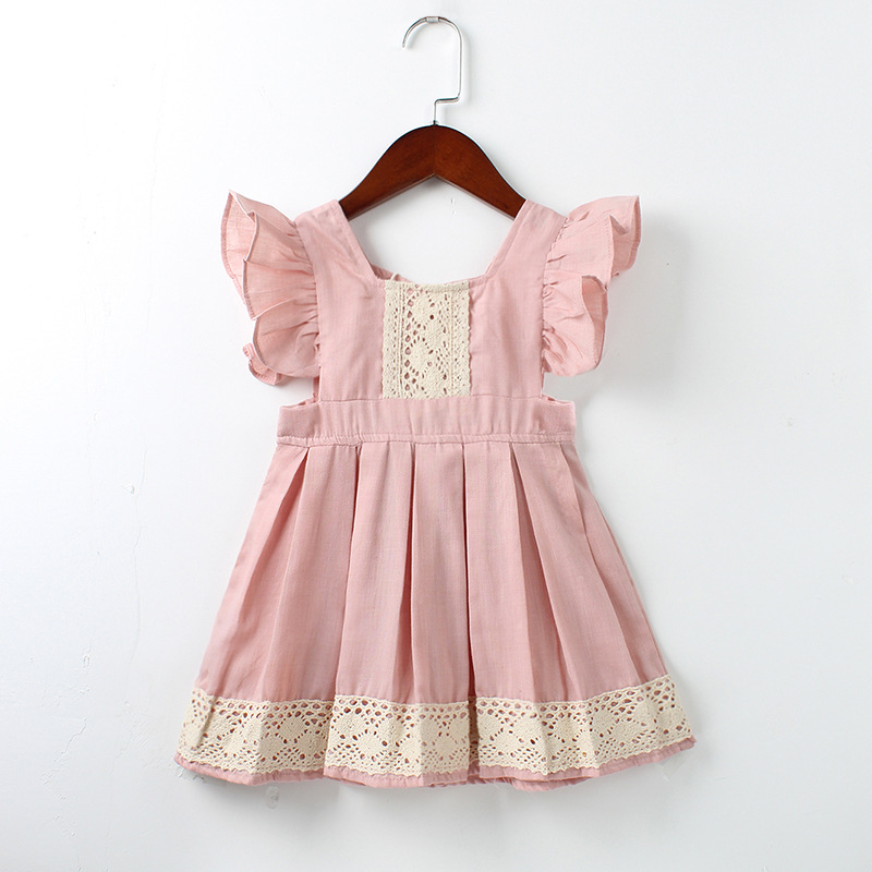 Girls Dress Summer Style Kids ruffles lace Backless Princess Dresses For Toddler Girls Vintage Dress Baby Girl Clothing 1-5Yrs 2018 summer new girls clothing lace mesh splicing baby dresses for girl party princess dress fashion petal kids girls dresses