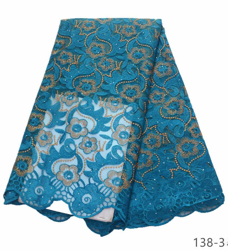 Aqua 자수 스톤 tulle 레이스 원단 아프리카 프랑스어 레이스 원단 아름다운 나이지리아 레이스 원단 138