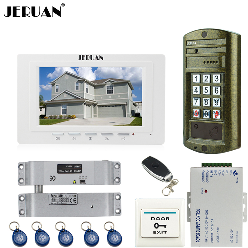 JERUAN 7`` Video Door Phone Intercom System kit 1 White Monitor+ Metal waterproof password keypad HD Mini Camera +E-lock jeruan home 7 inch video door phone intercom system kit new metal waterproof access password keypad hd mini camera 2 monitor