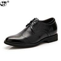 Height increasing 6cm Men Dress shoes Split Leather Oxford shoes Brown Black Wedding Business Shoes Men 889