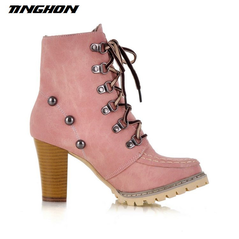TINGHON Autumn Winter Women Ankle Boots High Heels Lace Up Leather Martin  boots Pink Blue Yellow-in Ankle Boots from Shoes on Aliexpress.com  ebc24c7bd31d