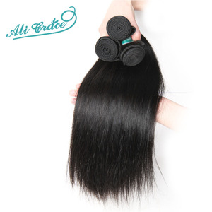 Image 5 - ALI GRACE Hair Brazilian Straight Human Hair 4 Bundles 100% Remy Human Hair Weaves Natural Color 10 28 inch Free Shipping