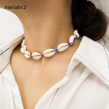 IngeSight.Z Bohemian Natural Cowrie Shell Choker Necklace Collar Statement Adjustable Colorful Rope Chain Women Jewelry