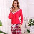 Las Mujeres Pijamas de algodón Establece A Cuadros Primavera de Encaje de Manga Larga ropa de Dormir Pijamas Homewear Informal Femenina Suave de Cerca la piel 3 unids conjunto