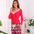 Mulheres Pijamas Conjuntos de algodão Xadrez Primavera Renda Manga Longa Pijamas Homewear Macio Close-pele Do Sexo Feminino Casual Pijamas 3 pcs conjunto