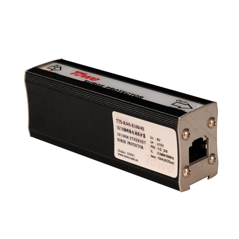 TOWE Ethernet Network RJ45 Surge Protector Thunder Protection Lightning Arrester  TTS-RJ45-E100/4S  10/100M Single-port