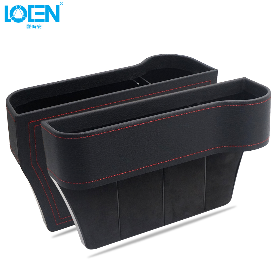 3 Color Artificial Leather Black Stowing Car Tidying Console Side Card Coin Organizer Seat Gap Storage Pocket With Cup Holder