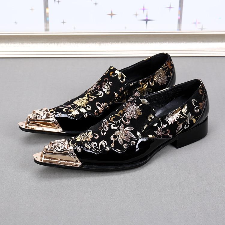 Mens Dress Shoes Genuine Leather Metallic Toe Glitter Shoes Prom