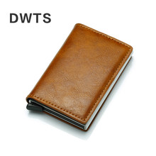 Antitheft Men Vintage Credit Card Holder RFID Automatic Elastic Aluminum Pu Card Package Men Card Holder Rifd Wallet Card Case(China)