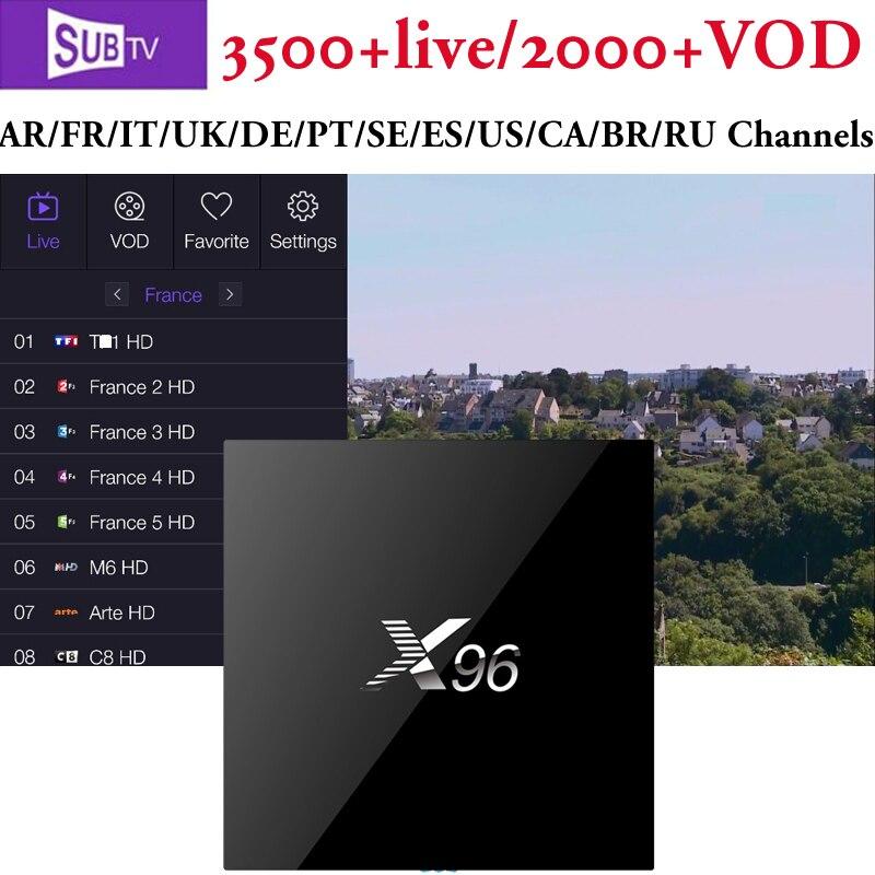 Android tv box X96 add Europe IPTV Subtv free for Arabic French Latino INDIA Pakistan Germany