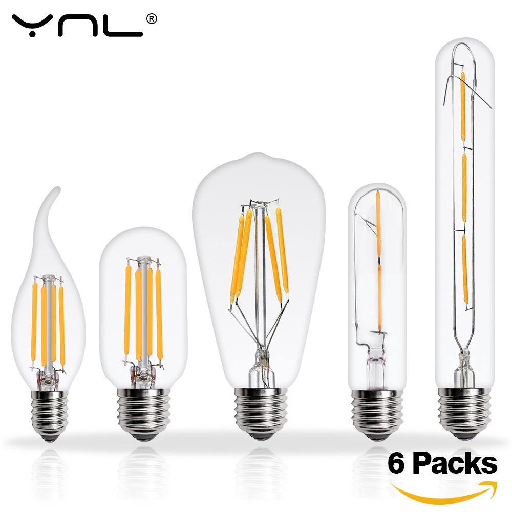 6pcs Lampada LED Edison Bulb E27 E14 220V 2W 4W 6W 8W Bombillas LED Filament Lamp Vintage Antique Retro Candle Glass Light