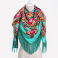 2017 New Russian Ethnic Style for Woman Winter Neck Warm Print Scarf Cotton Long Tassel Square Shawl