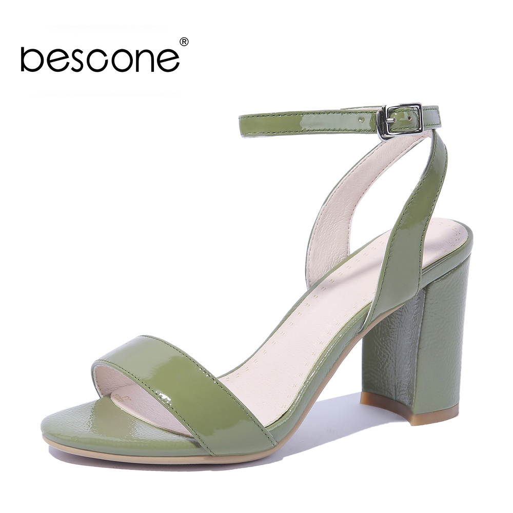 BESCONE Elegant Women Sandals Basic High Heels Buckle Work Dress Shoes For Female Concise Ladies Sandals