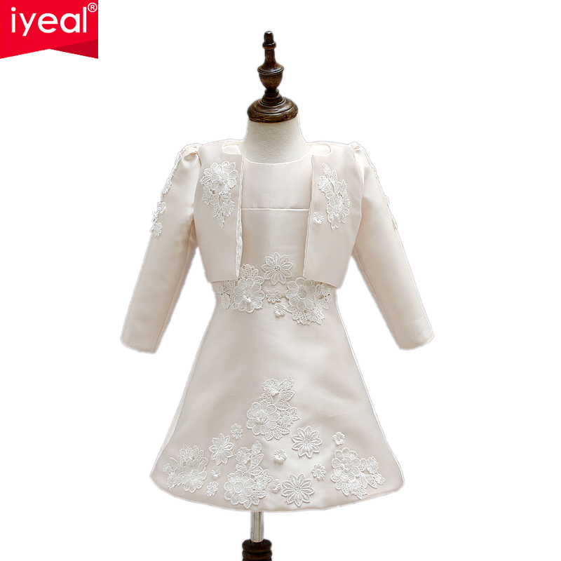 IYEAL Brand New Flower Girl Princess A-Line Prom Party Wedding Dresses With Jacket for Girls Spring Autumn Kids Vestido 2PCS summer 2017 new girl dress baby princess dresses flower girls dresses for party and wedding kids children clothing 4 6 8 10 year