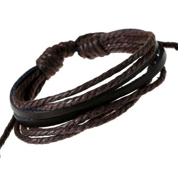 Punk Fashion Colored Waxed Rope Cord PU Leather Men Women 8-strands Multilayer Bracelets Bangles Wrap Enrole pulseiras de couro image