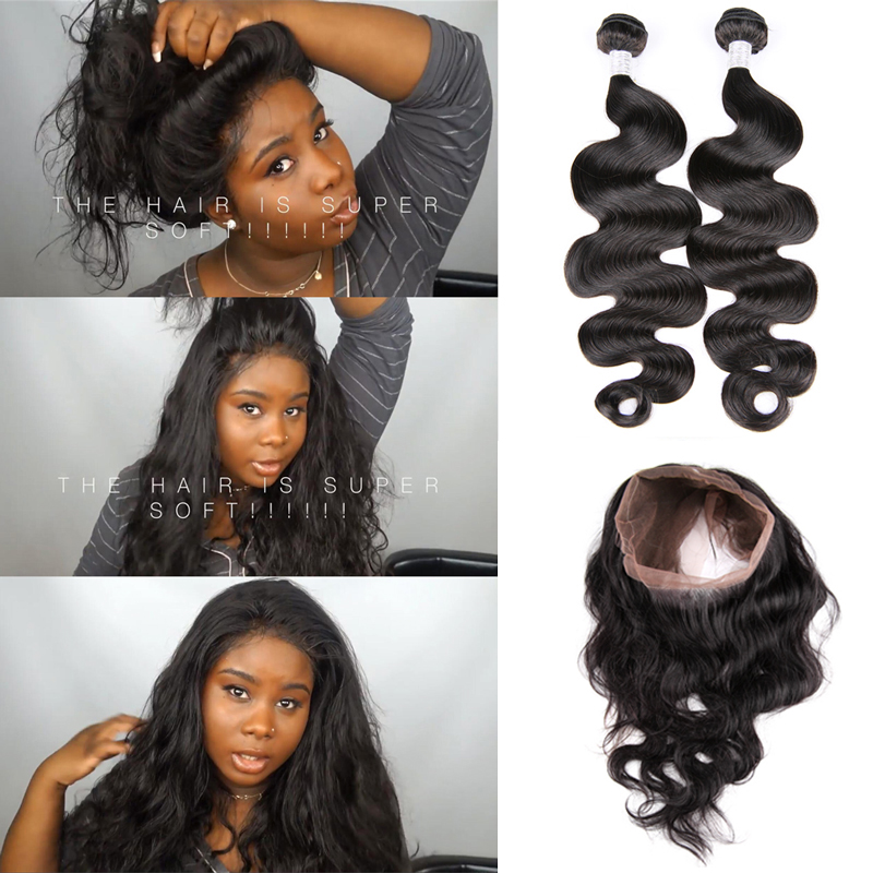 Hot Beauty Hair Pre Plucked 360 Lace Frontal With 2pcs Peruvian Body Wave Ivy Dear Review 360 lace frontal with bundles