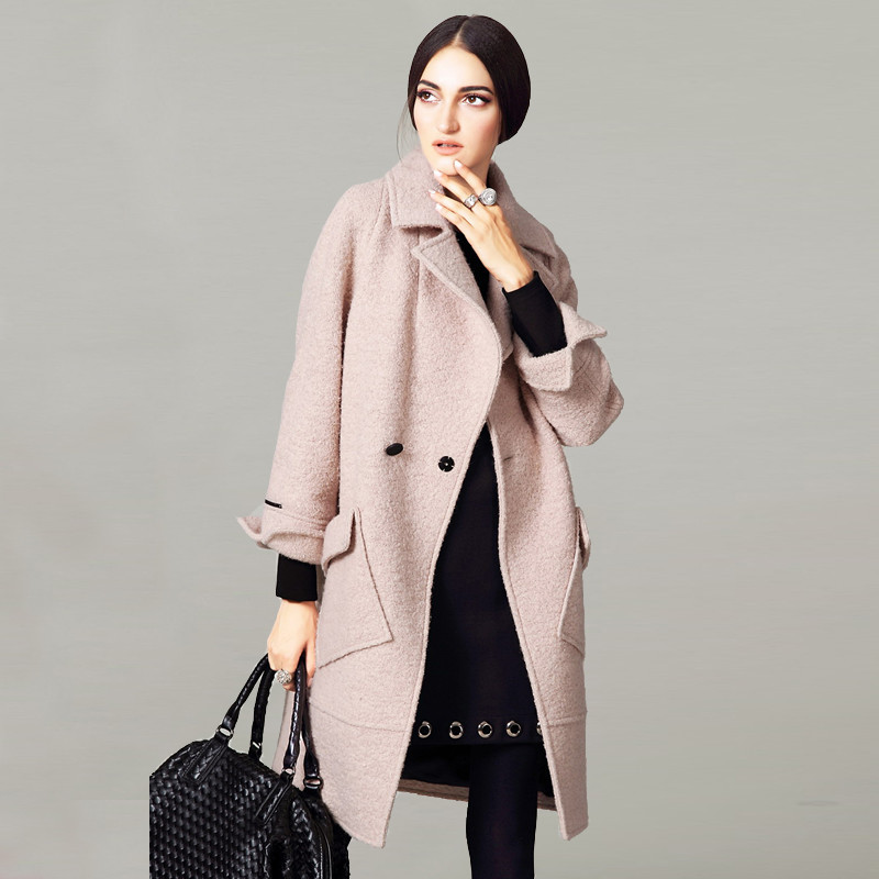 2017 High Quality Brand Women Winter Coat Loose Long Wool Female Buckle Solid Overcoat Abrigos Mujer Wide-waisted Trench Coat