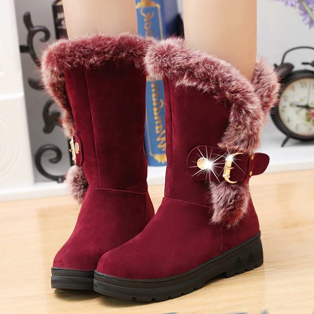 Fashion mid-calf boots for women winter warm shoes 2017 new arrival metal decoration plush wedges fur female snow boots