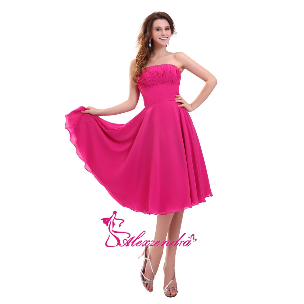 Alexzendra A Line Chiffon Hot Pink Tea Length   Bridesmaid     Dress   for Wedding Strapless Simple Party Gown   Bridesmaids