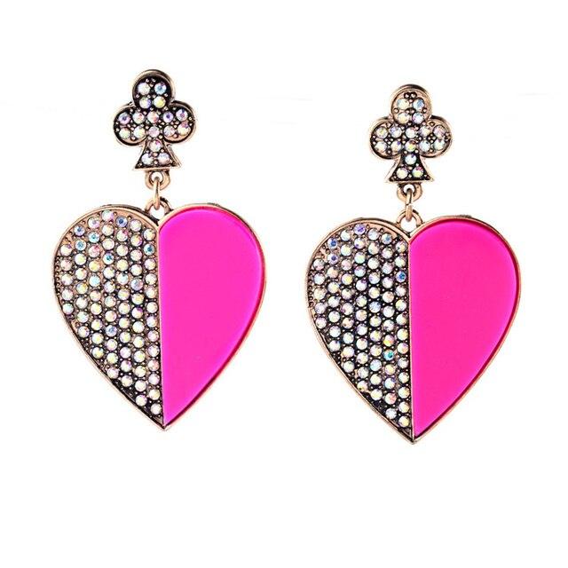 Mulheres por atacado Clássico Piercing Brinco Strass Inlay Hot Pink Acrílico Coração Oscila o Brinco Para Venda