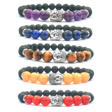 Natural Stone Lava  Tiger Eye Buddha Bead Bracelets Bangles Skull Charm Natural Stone Bracelet yoga Jewelry Men Women Bracelets bohemian natural stone gravel bracelets for women 2019 new elastic bracelets jewelry tiger eye opal redstone nuggets bracelets
