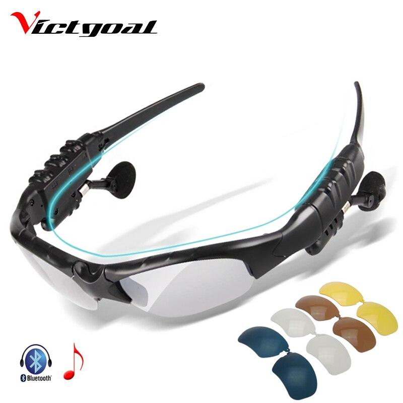 Prix pour VICTGOAL Bluetooth Vélo Lunettes Polarisées Sport En Plein Air Hommes Conduite lunettes de Soleil Téléphone Vélo Lunettes Lunettes de Soleil 5 Lentille M1302