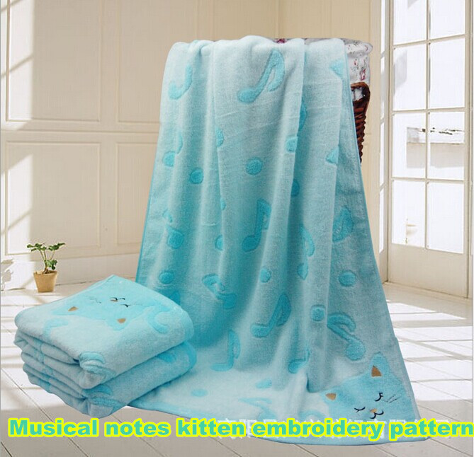 Explosion Models Factory Direct Bamboo Fiber Bath Towel Cartoon Cat Musical Notes Jacquard Towel 70 * 140