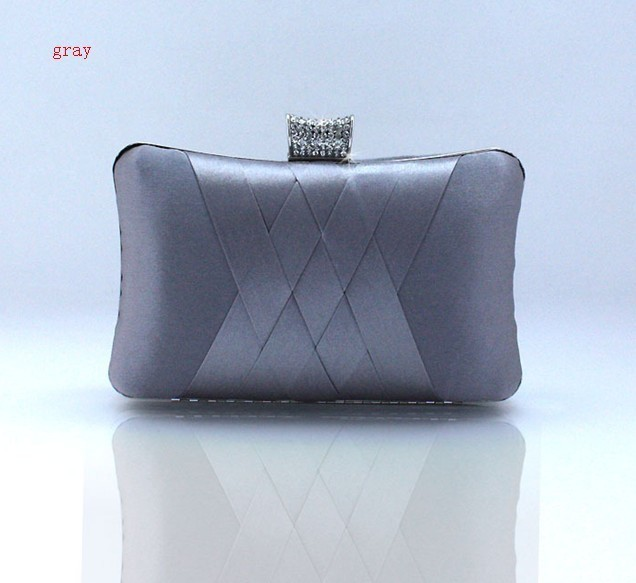 Gray Chinese Women's Satin Rhinestone Clutch handbag Wedding Evening Bag Banquet Party Purse Makeup Bag Free Shipping 7395-K