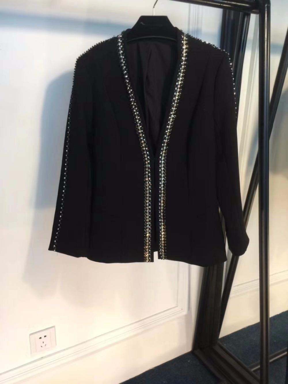 Perles Pièces Pour Mode Vêtements 2018 Top Et Femmes Noir Festival Set Costume Ensembles Deux Pantalon Roupas Feminina De Binaire 1wAIS