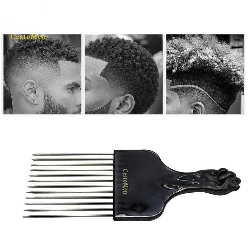 CestoMen 1 PC Afro Comb Metal Pins African Pick Comb Hairdressing Styling Tool Plastic Fist Handle Hair Pick Comb For Curly Hair