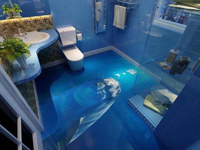 High Quality 3d Floor Creative Cute Dolphin Flooring Murals Self Adhesive Waterproof Pvc