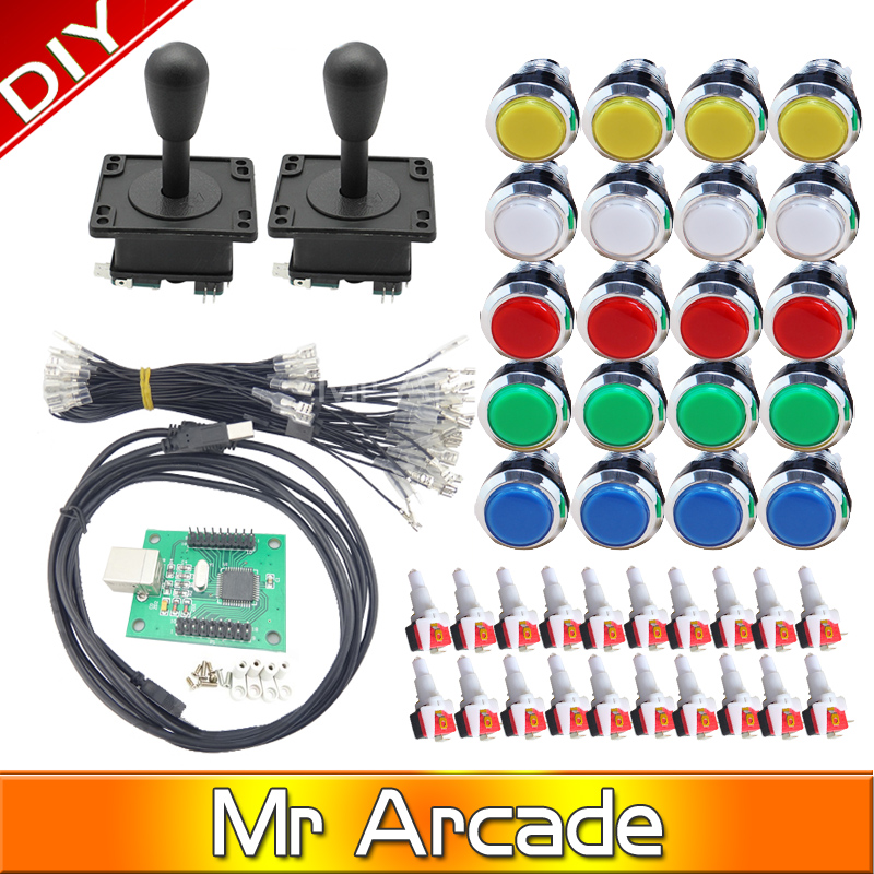 OEM Arcade mame DIY KIT FOR 2 players PC PS3 2IN1 to joystck LED button interface USB 2player MAME 12V Chrome Plated Illuminated arcade mame diy kit for 2 players pc ps 3 2 in 1 to joystck led button with icons interface usb 2 player mame interface