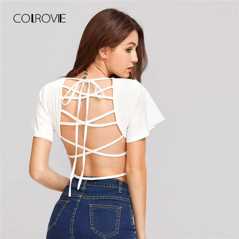 COLROVIE White Lace Up Open Back Crop Tee Shirt 2018 New White Round Neck Short Sleeve Women Top Lace Up Backless T-shirt white lace up 3 4 sleeve top with crochet back