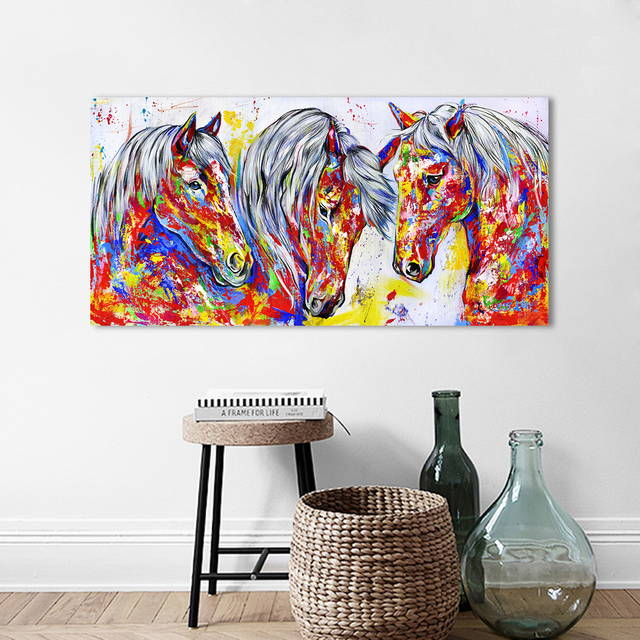 HDARTISAN Wall Art Canvas Painting Animal Picture Three Horses Posters Prints Home Decor No Frame