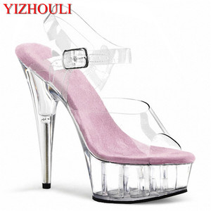 De meest preferentiële prijs Sexy show hoge hakken, 15cm skinny sandalen, party crystal zolen nachtclub paaldansen schoenen(China)