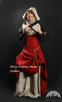 Custom Made Medieval Nun Dress with Detachable Sleeves, Gorget and Hood Medieval Dream Dress