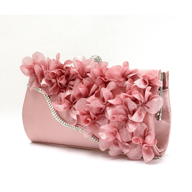 9 Colors Handmade Fabric Flowers Evening Bag