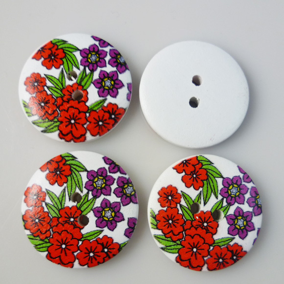 20PCS 30MM red and purple flower painting wooden 2-Holes buttons coat boots sewing clothes accessories MCB-200