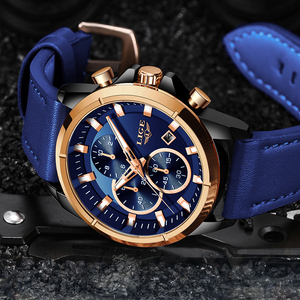 Image 3 - LIGE Casual Sports Watches For Men Blue Top Brand Luxury Military Leather Wrist Watch Man Clock Fashion Chronograph Wristwatch