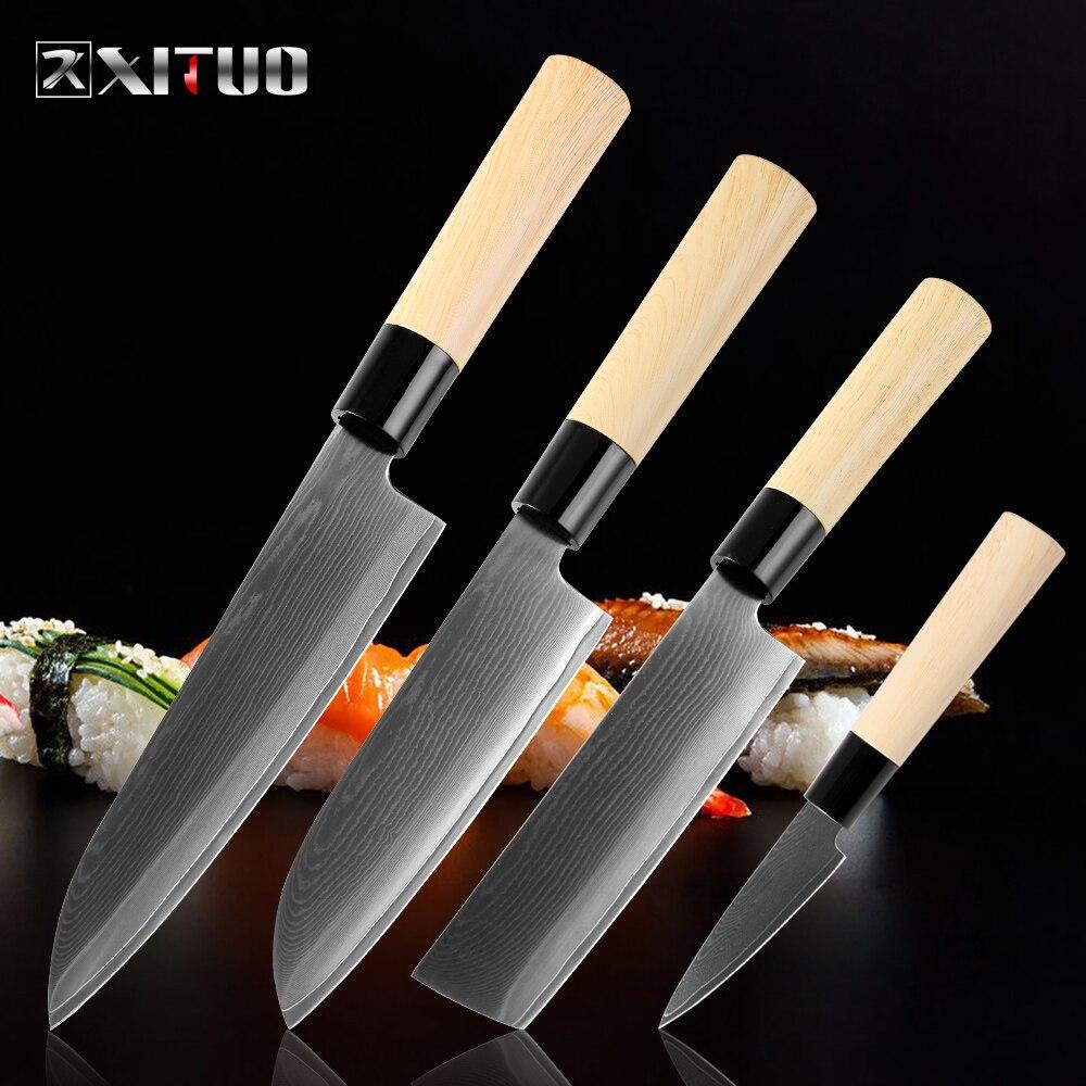 Xituo 다마스커스 강철 요리사 칼 일본식 스시 연어 필링 산토 쿠 유틸리티 나이프 전문 주방 조리 도구